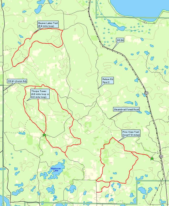 Paul Bunyan State Forest Horseback Riding Map