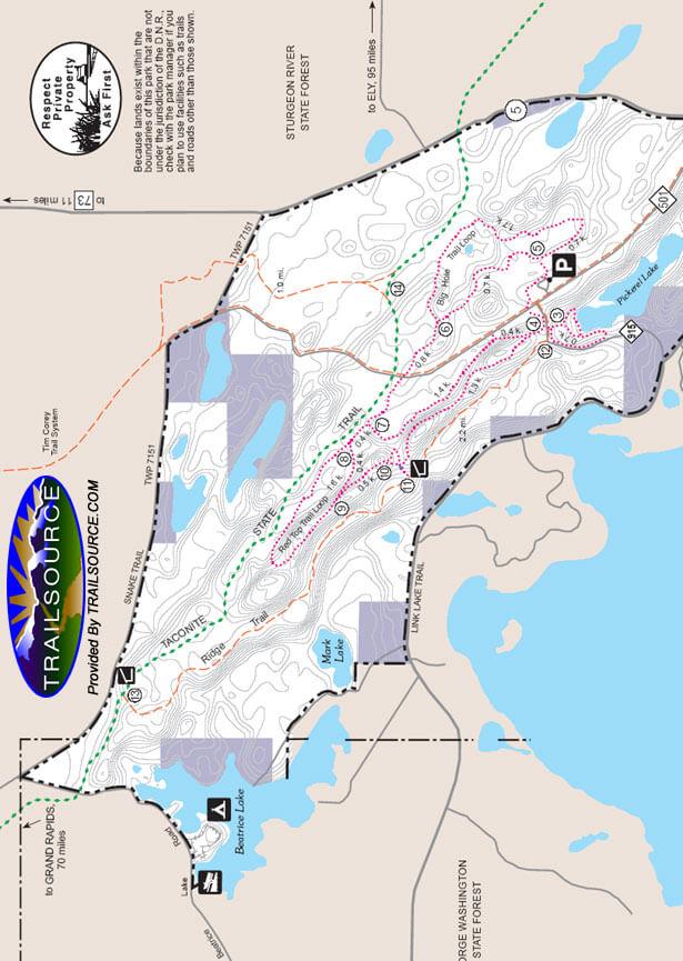 McCarthy Beach State Park Snowmobiling Map