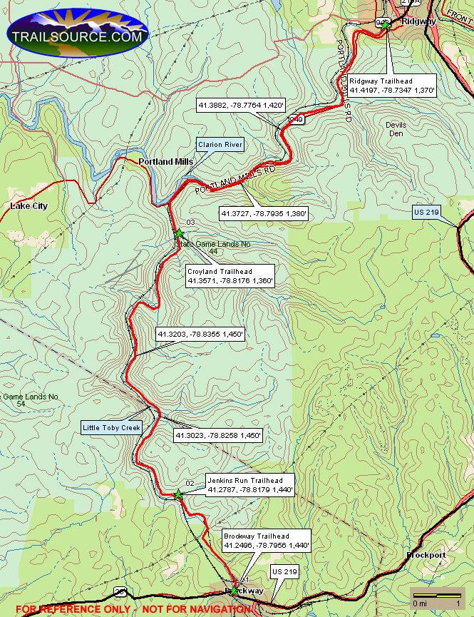 Clarion/Little Toby Creek Trail Mountain Biking Map