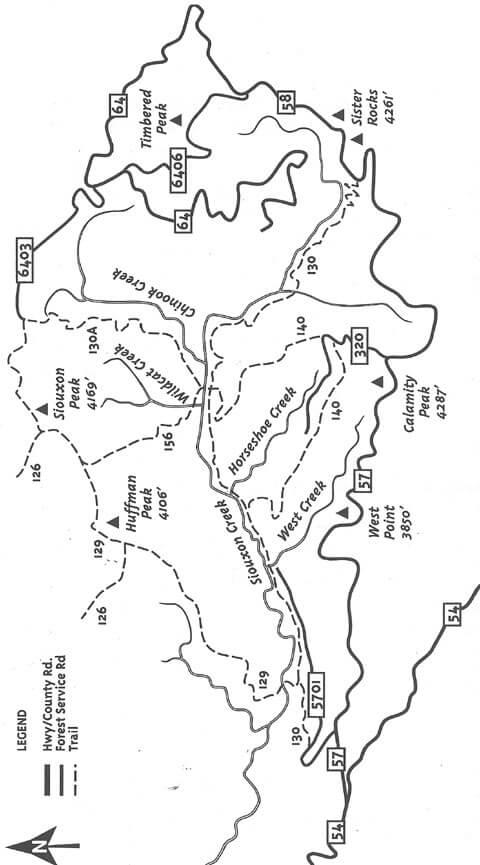 Siouxon Trail Mountain Biking Map