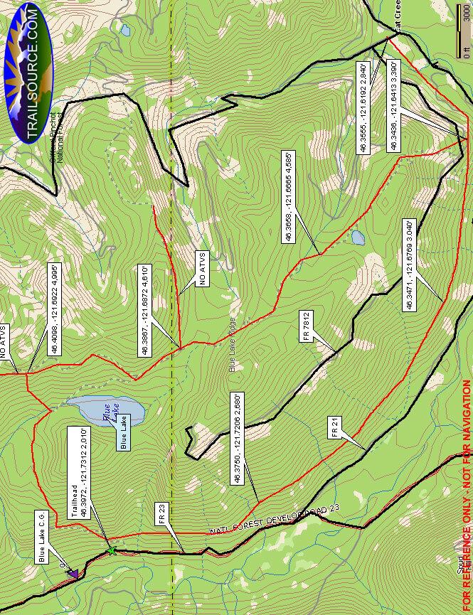 Blue Lake Ridge Trail Hiking Map
