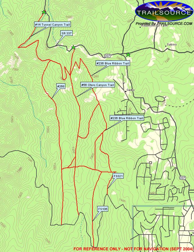 Otero Canyon Trail / Blue Ribbon Trail Hiking Map