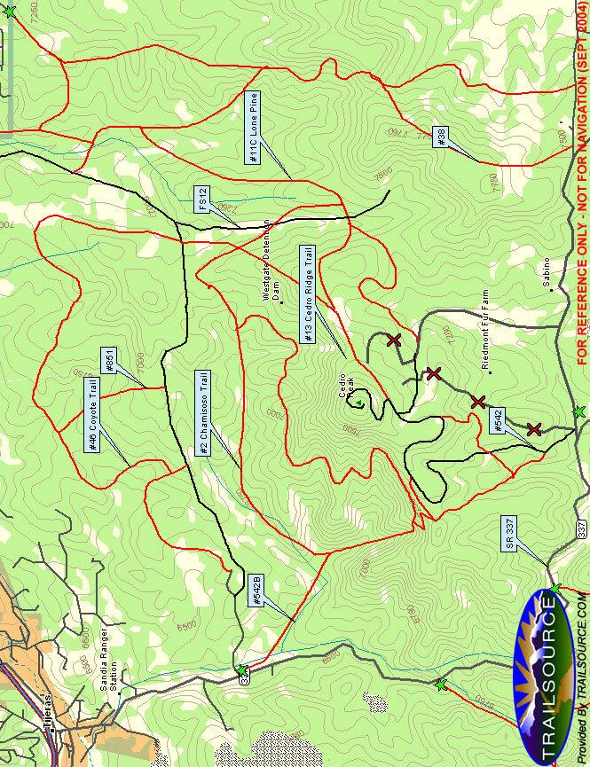 Cedro Peak Trail System Horseback Riding Map