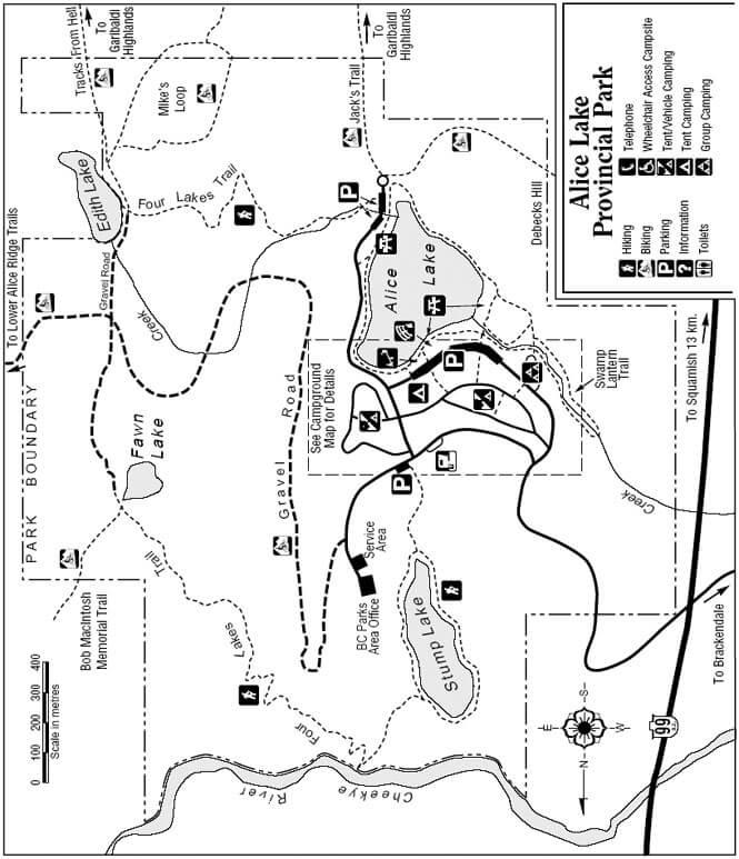 Four Lakes Loop Trail Mountain Biking Map