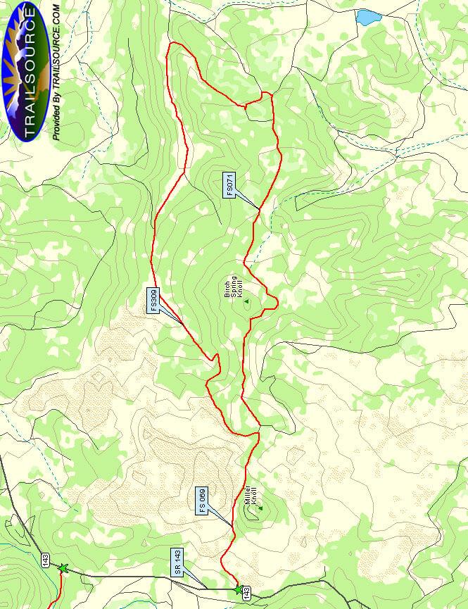 Birch Spring Knoll Mountain Biking Map