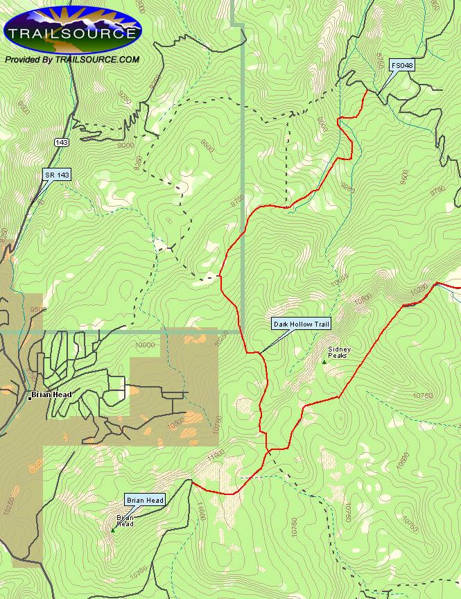 Dark Hollow Trail Mountain Biking Map
