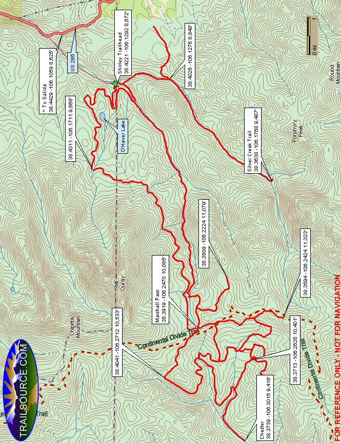 Marshall Pass - Shirley Snowmobile Area Snowmobiling Map