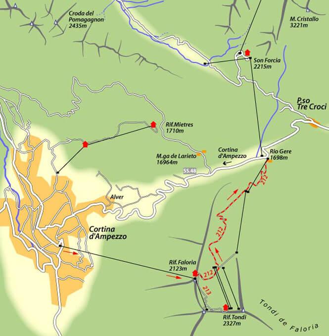 Faloria - Rio Gere - Cortina Mountain Biking Map