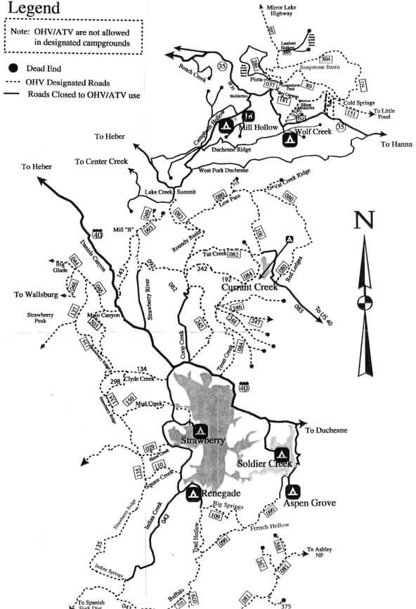 Strawberry Ridge / Currant Creek ATV Trails Map
