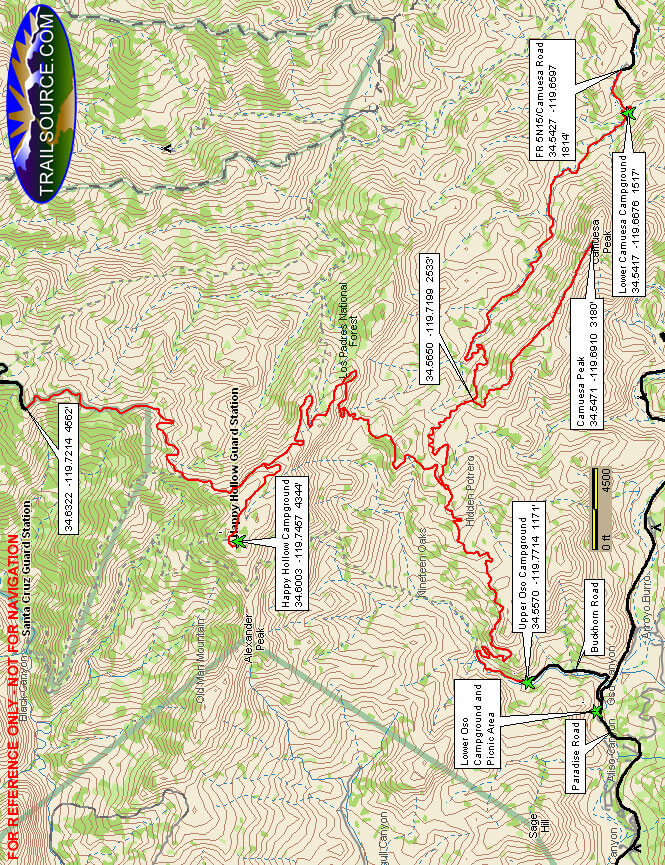 Camuesa OHV Route Horseback Riding Map