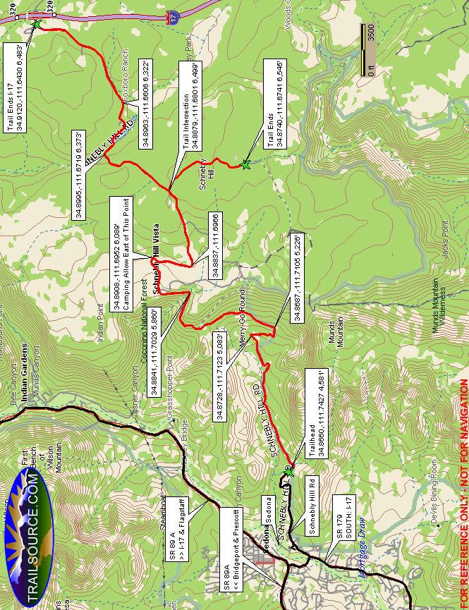 Schnebly Hill Road Dirt Biking Map