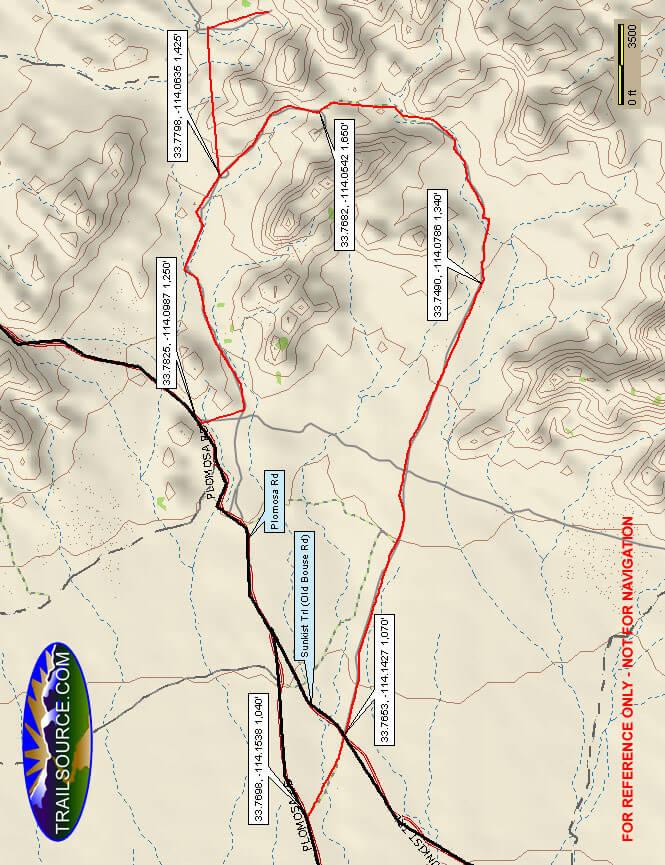 South Plomosa Range ORV Trail Dirt Biking Map