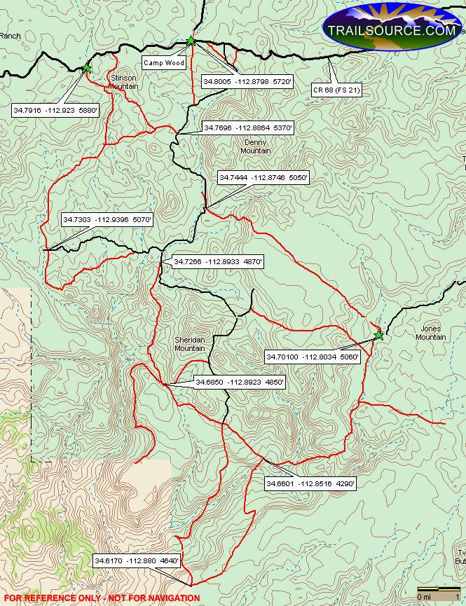 Sheridan Mountain / Smith Mesa Dirt Biking Map