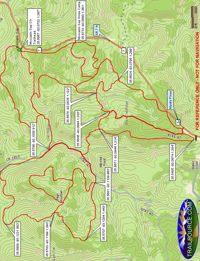 Moccasin Gap Horse Trail Dirt Biking Map