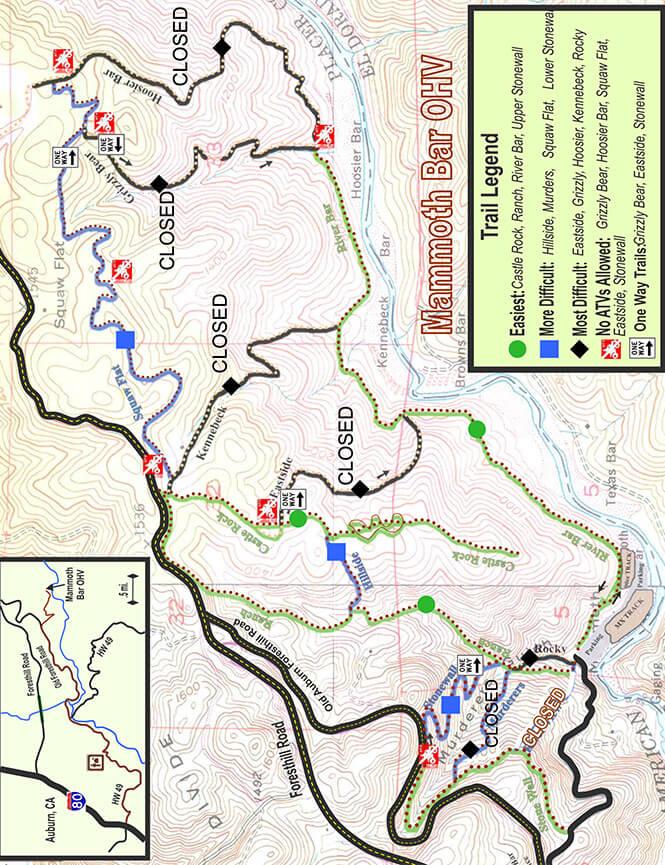 Mammoth Bar OHV Area Dirt Biking Map