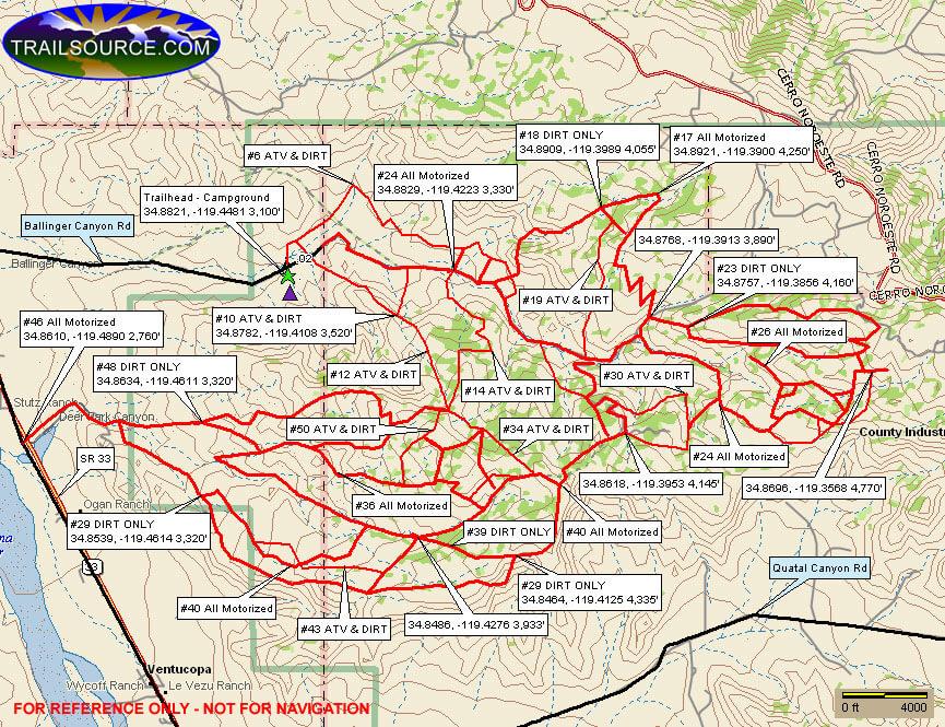 Ballinger Canyon OHV Area Dirt Biking Map