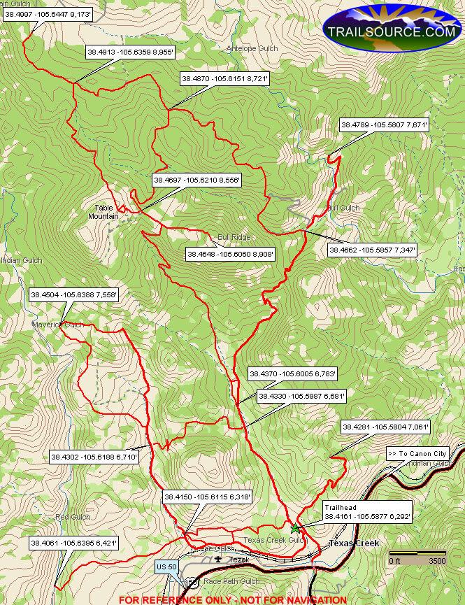 Texas Creek ORV Area Dirt Biking Map