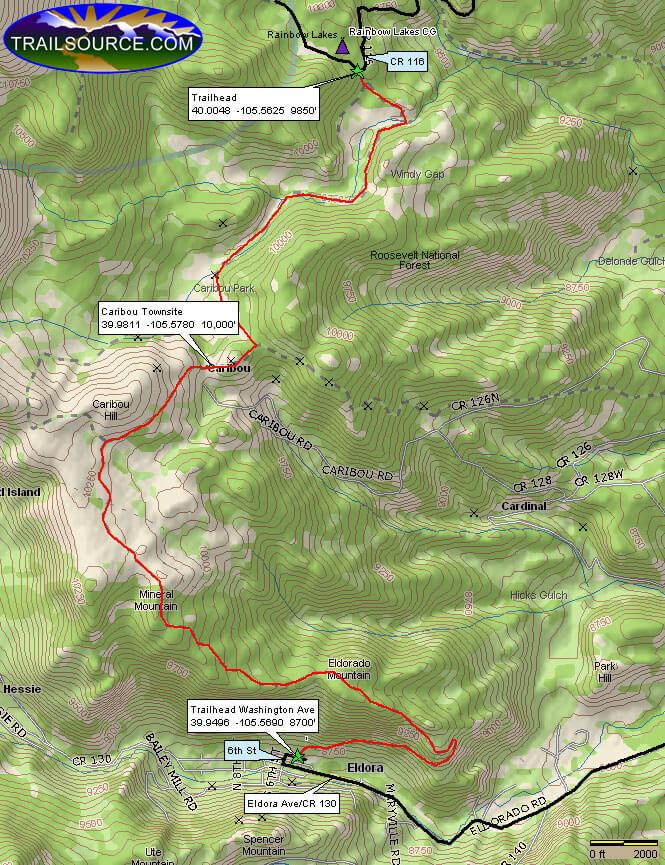 Caribou Flats Road Dirt Biking Map