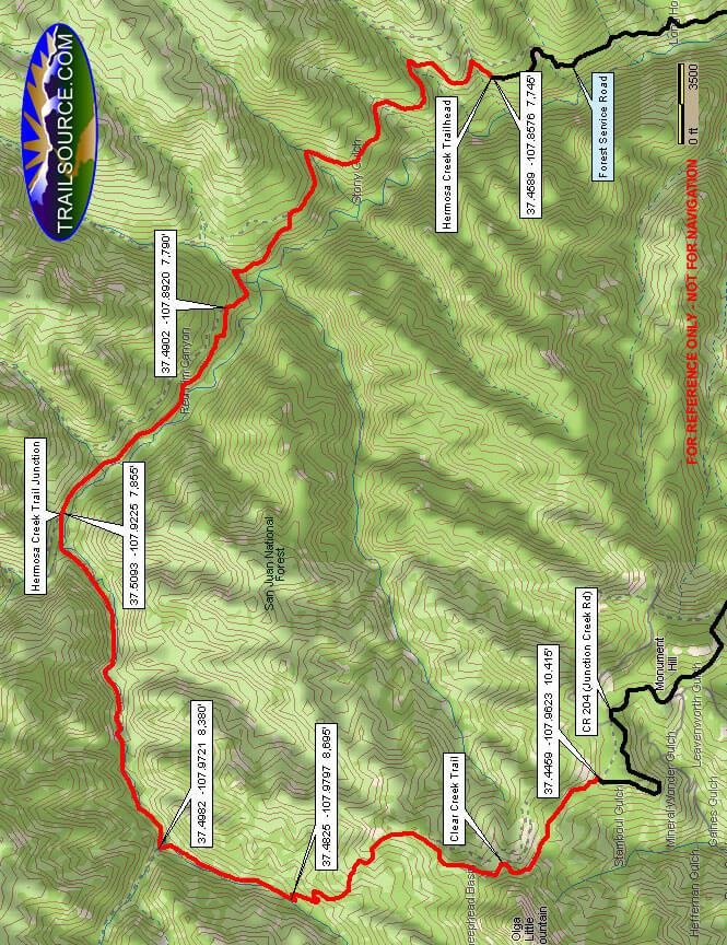 Clear Creek Trail Dirt Biking Map