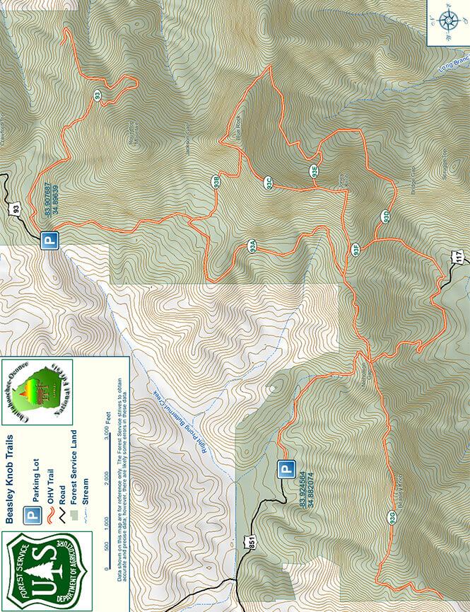 Beasley Knob ORV Trail Dirt Biking Map