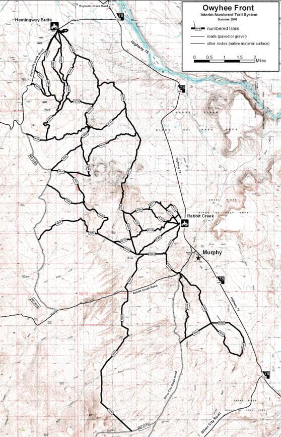Hemingway Butte OHV Trailhead Dirt Biking Map