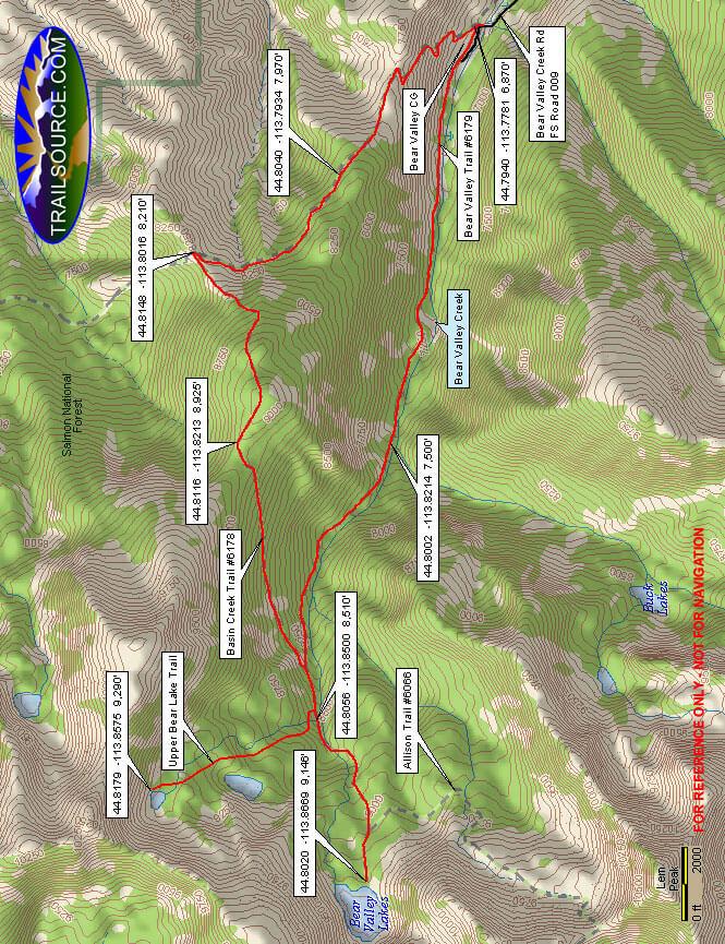 Bear Valley Lakes Trail Dirt Biking Map