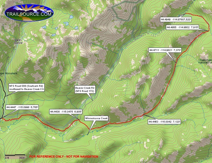 Winnemucca Creek ORV Trail Dirt Biking Map