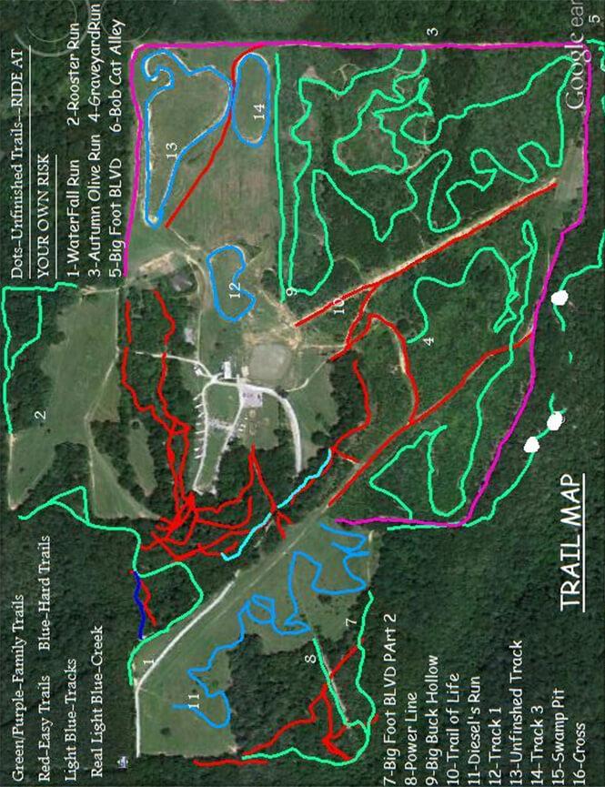 Williams Hill Pass Dirt Biking Map
