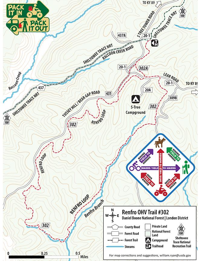 Renfro OHV Route Dirt Biking Map