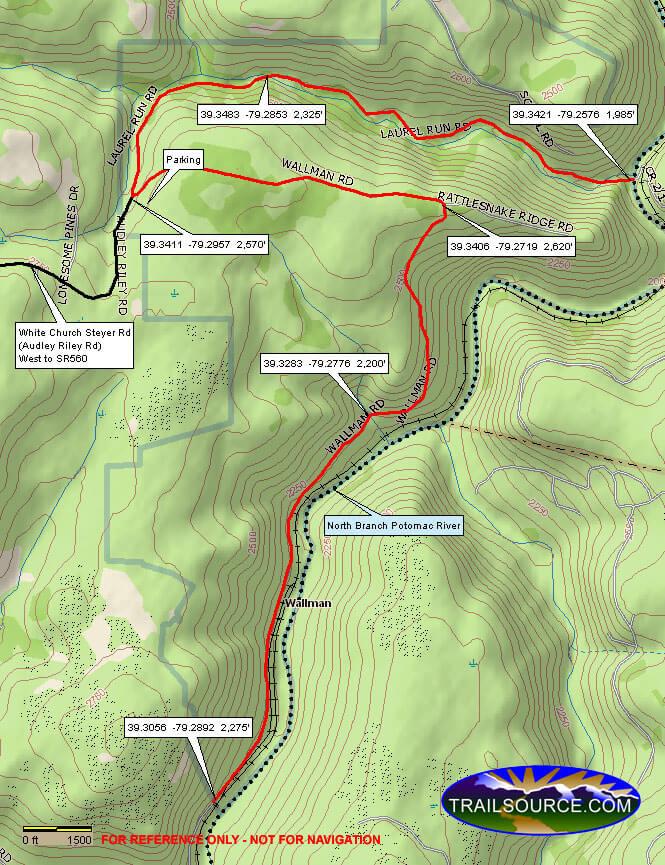 Potomac River Trail Dirt Biking Map