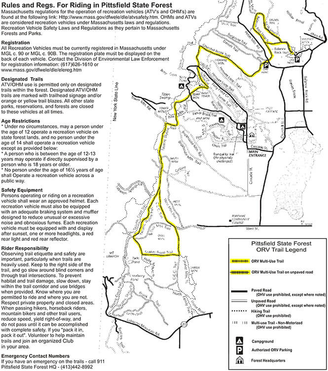 Pittsfield State Forest Dirt Biking Map