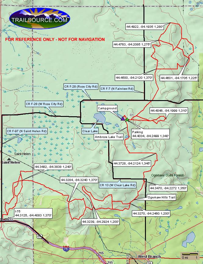Ambrose Lake Trail Dirt Biking Map