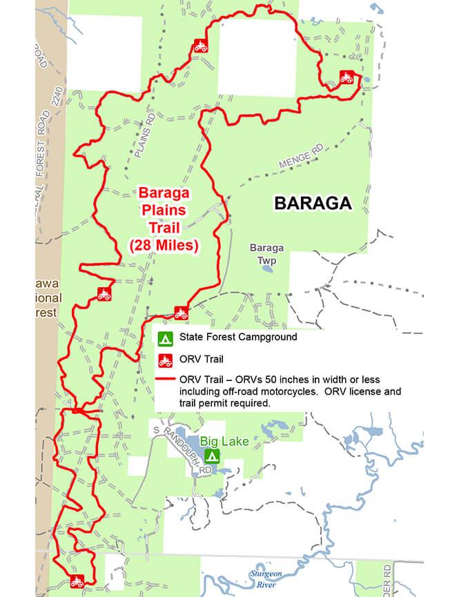 Baraga Plains ATV - Dirt Biking Trail Dirt Biking Map