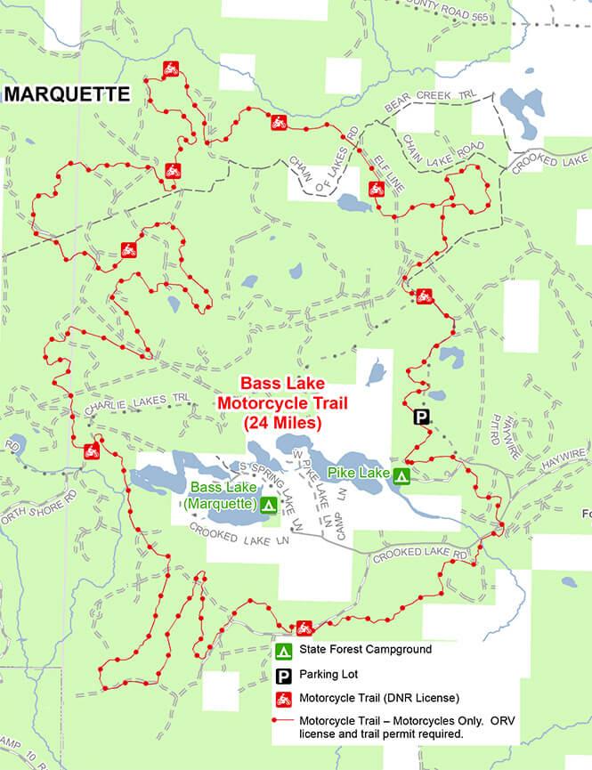 Bass Lake ORV Trail Dirt Biking Map