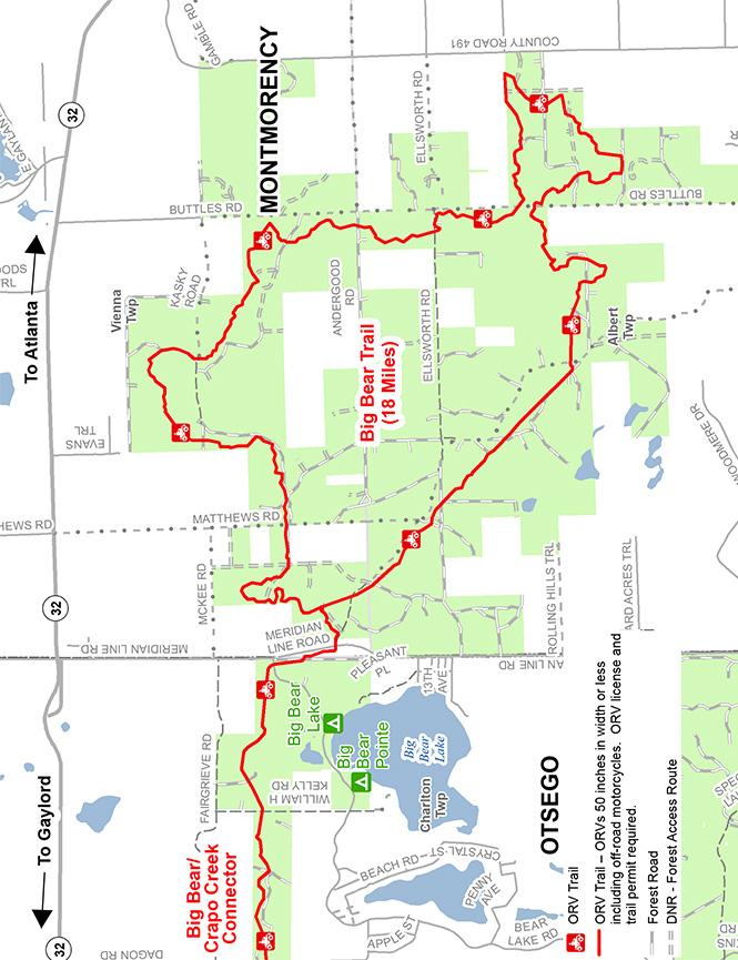 Big Bear ORV Trail Dirt Biking Map