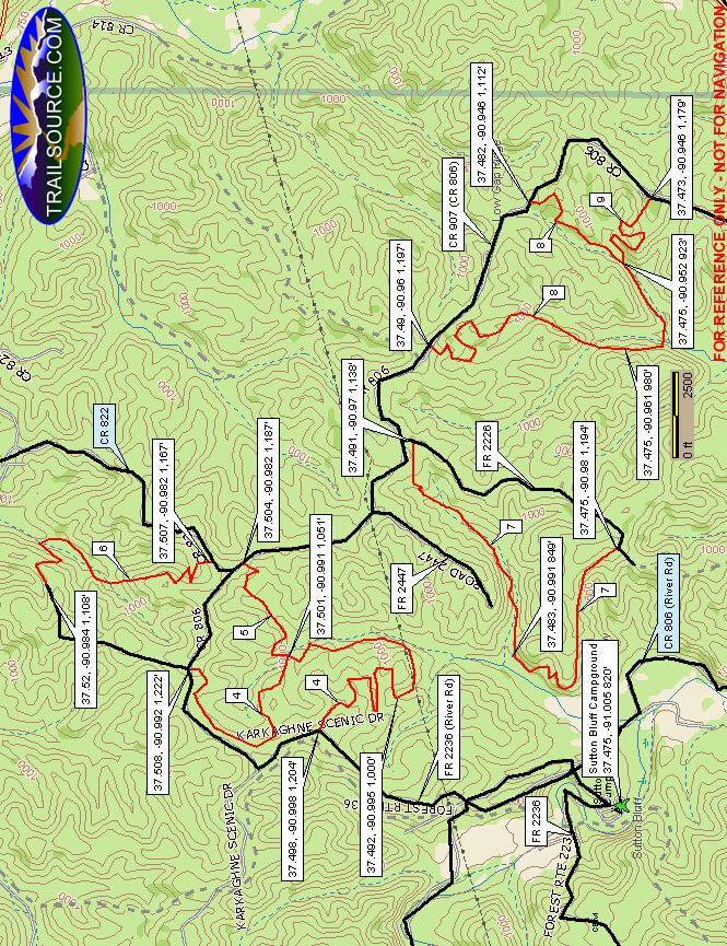 Sutton Bluff Dirt Biking Map