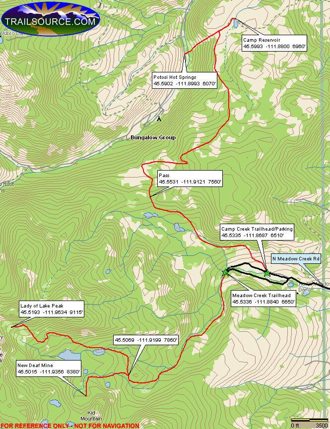 Camp Creek Trail Dirt Biking Map