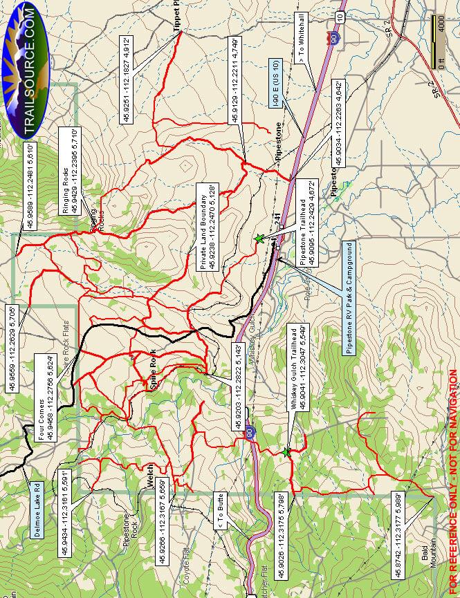 Whitetail / Pipestone Dirt Biking Map