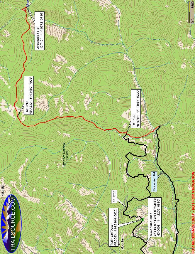 Overwhich Falls Trail Dirt Biking Map