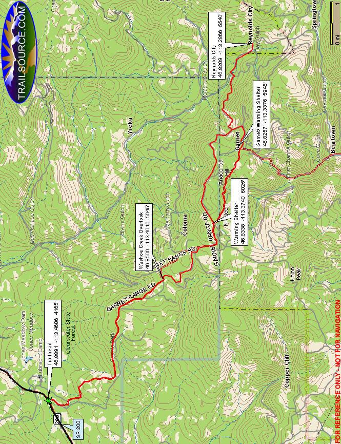 Garnet Backcountry Byway Dirt Biking Map