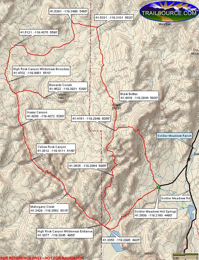 Soldier Meadows Hot Springs Dirt Biking Map