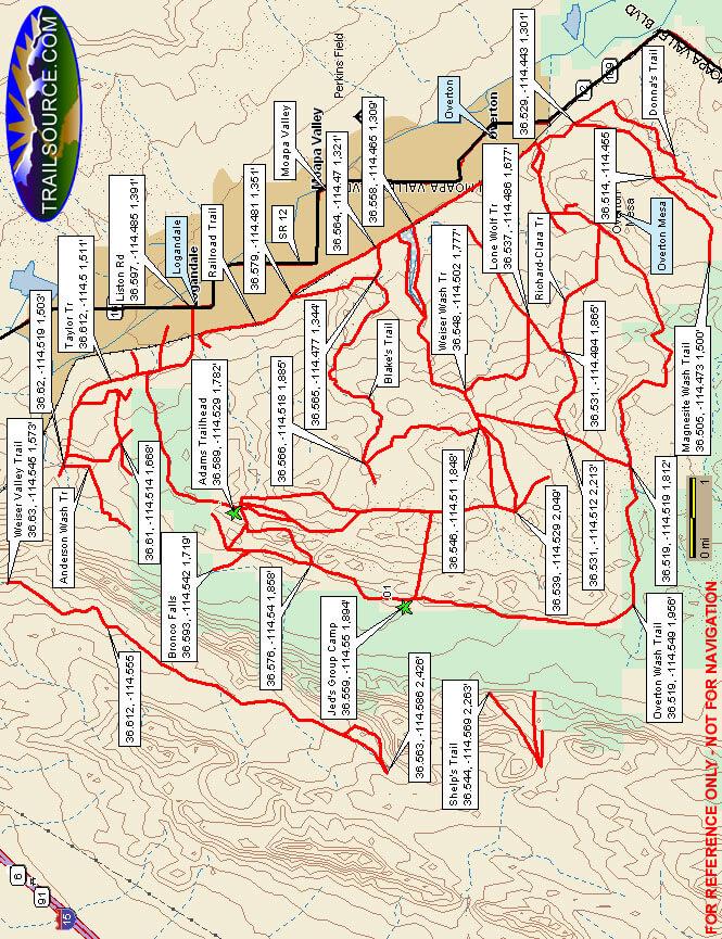 Moapa Valley OHV Park Dirt Biking Map