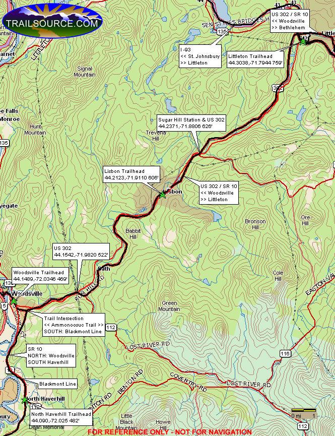 Ammonoosuc Rail Trail Dirt Biking Map