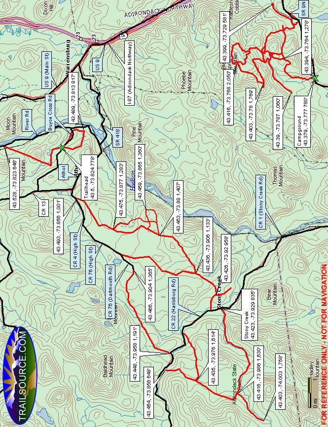 Thurman Riding Trails Dirt Biking Map
