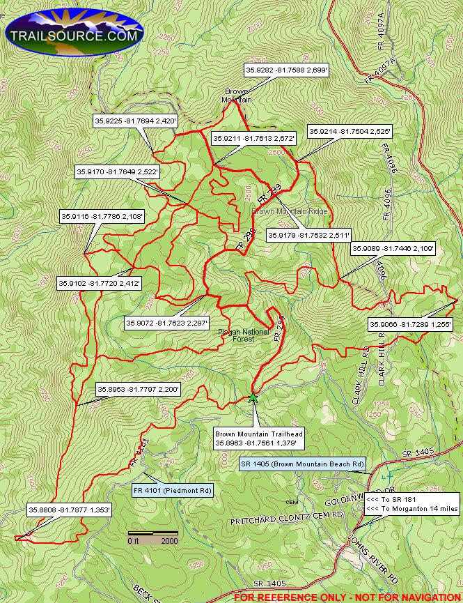 Brown Mountain ORV Area Dirt Biking Map