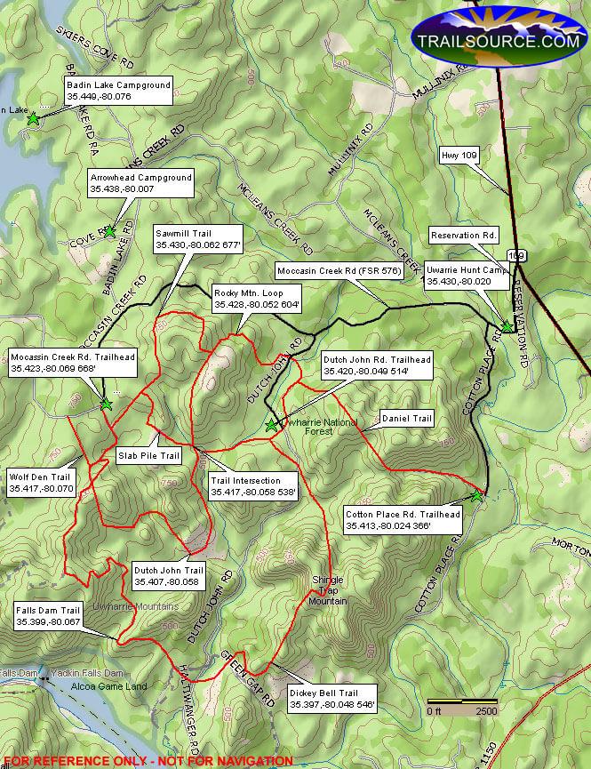 Badin Lake Dirt Biking Map