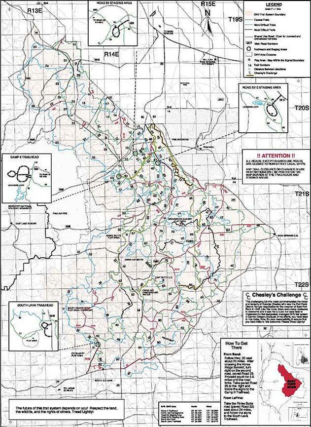 East Fort Rock ORV - Camp II Trailhead Dirt Biking Map