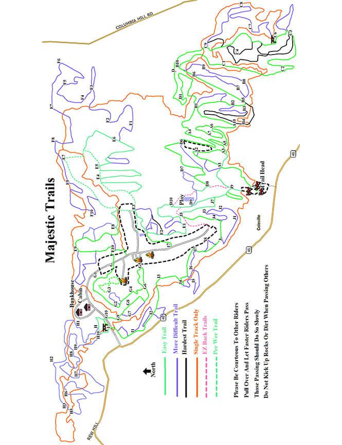 Majestic Kamp and Lost Trails Dirt Biking Map
