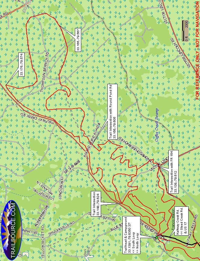 Wambaw Cycle Trail - North Dirt Biking Map