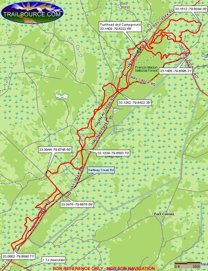 Wambaw Cycle Trail - South Dirt Biking Map
